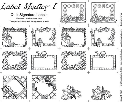 Block Party Studios Medley Labels 1 18in x 20in Panel White with Black Writing, 18