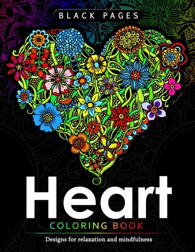 Read Online Heart Coloring Book: Black Pages Coloring Book for Adults : Designs for Relaxation and Mindfulness ebook