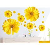Set of 9 Yellow Chrysanthemums Daisy Flowers Wall Sticker Decal Home Decor for Living Bed Room Study TV Wall