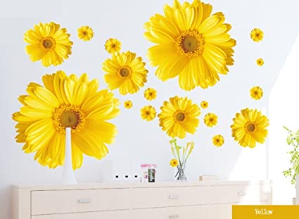 Amazon.com: Set of 9 Yellow Chrysanthemums Daisy Flowers Wall ...