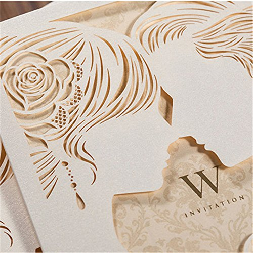 Engagement White Laser Cut Couples Wedding Invitations Elegant Hollow Groom & Bride Dinner Party Invite Cards CW010 (100) by Wishmade (Image #1)
