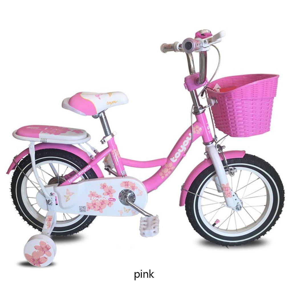 CSQ 子供の自転車、女の子に適したサイドホイールバスケット付きのベイビー快適なシートメタル素材2-10歳の使用88-121CM 子供用自転車 (色 : ピンク ぴんく, サイズ さいず : 115CM) B07DQDZ54J 115CM ピンク ぴんく ピンク ぴんく 115CM