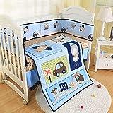 Wowelife Blue Crib Bedding Sets for Boys 7 Piece Train Rocket and Airplane Nursery Crib Bedding Set