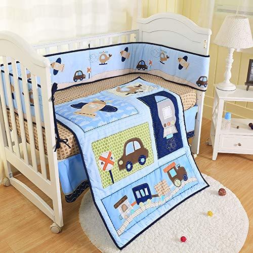 (Wowelife Car Baby Crib Bedding Blue 7 Piece Transportation of Car, Plane, Rocket and Train Crib Sets for Boys(Blue Transportation) )