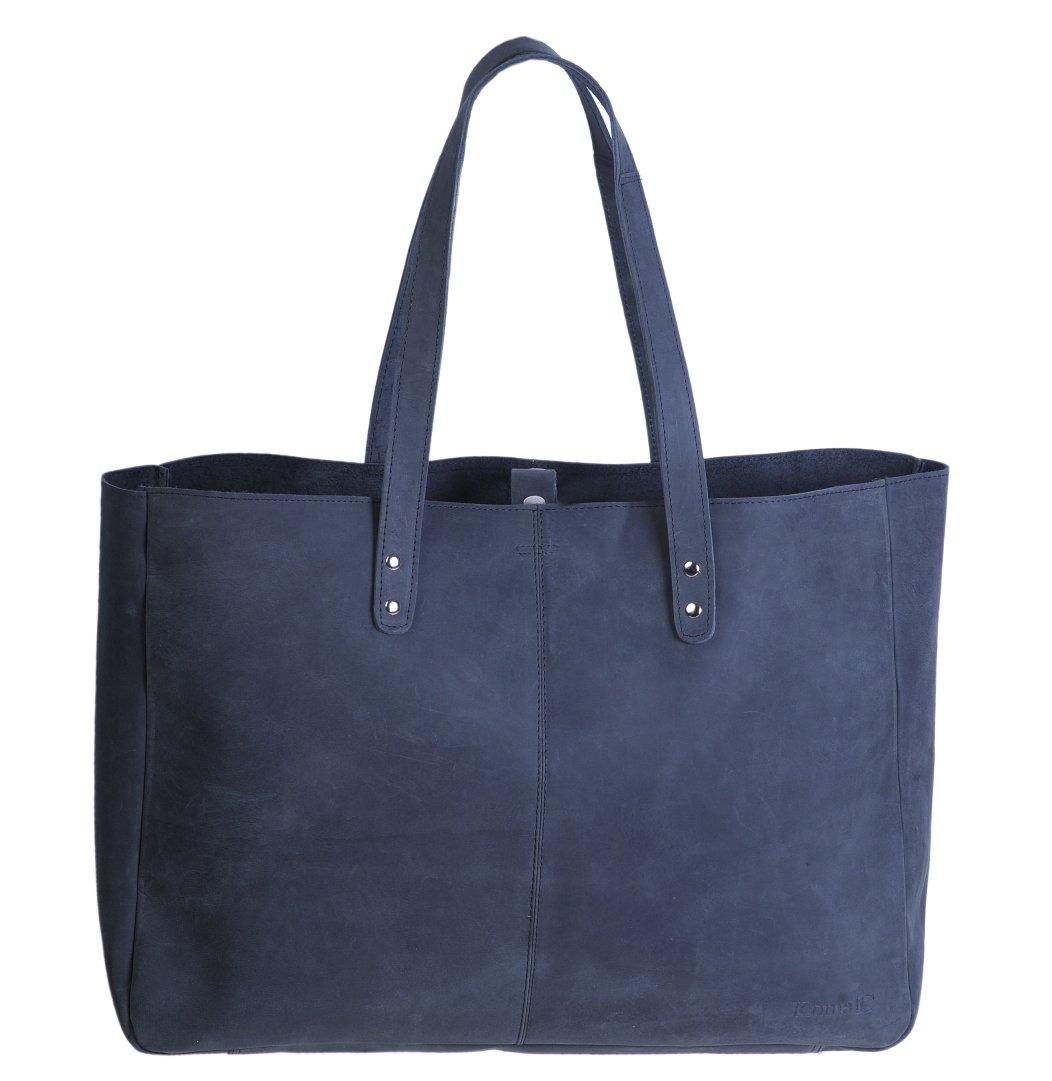 KomalC Genuine Soft Black Buffalo Leather Tote Bag Elegant Shopper Shoulder Bag