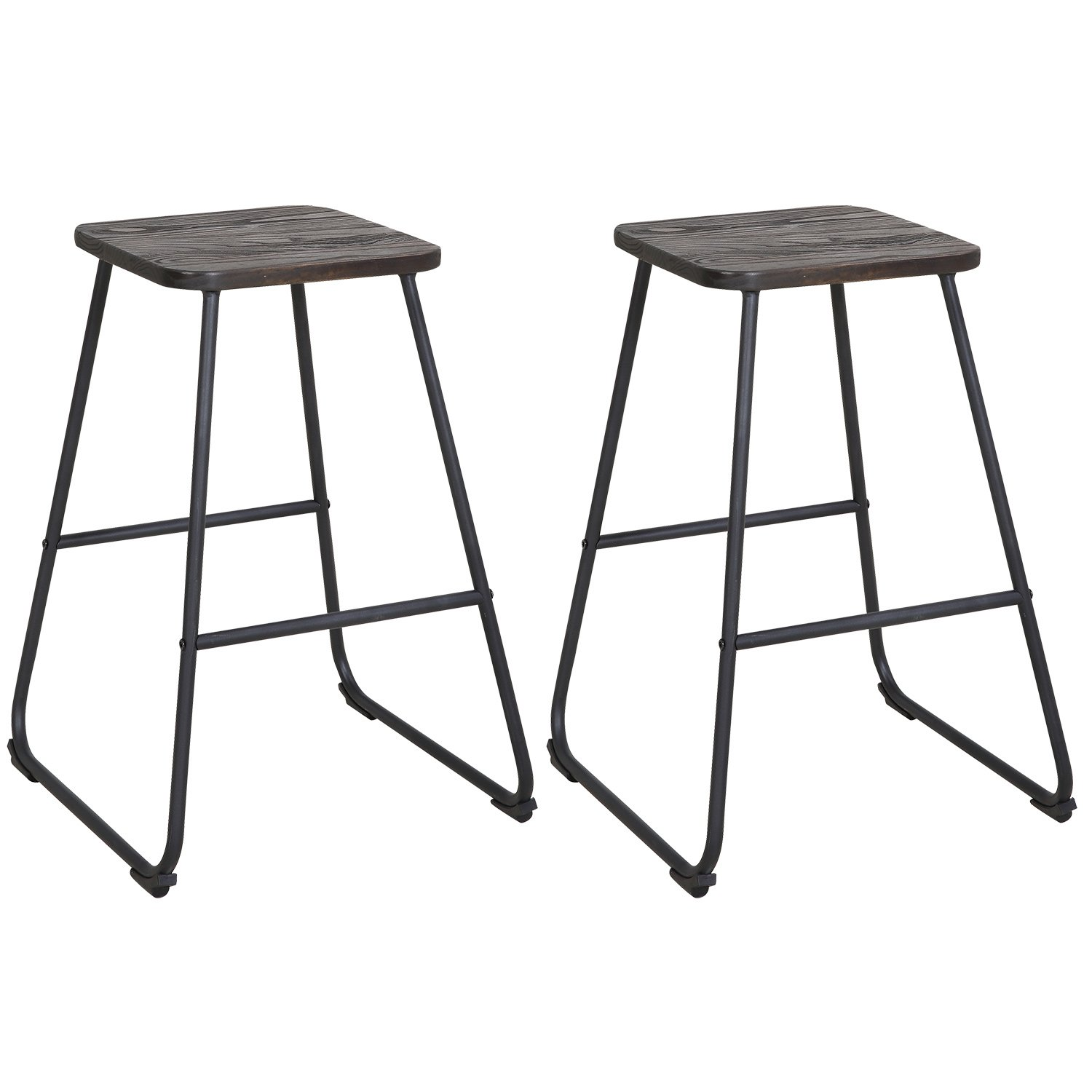 LCH 24'' Vintage Industrial Bar Stools, Home Kitchen Restaurant Metal Bar Chairs, Set of 2