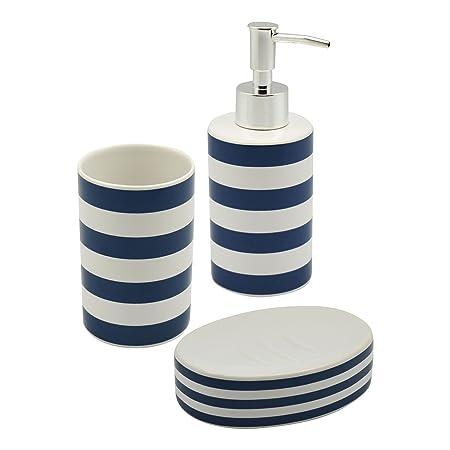 harbour housewares blue and white striped ceramic 3 piece bathroom set including soap dispenser