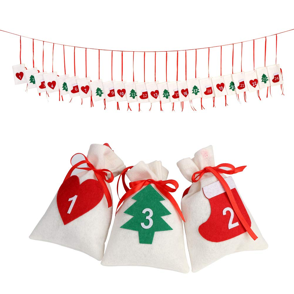 OurWarm Felt Christmas Countdown 2018, 24 Days Advent Calendar Garland Sacks Holiday Decorations