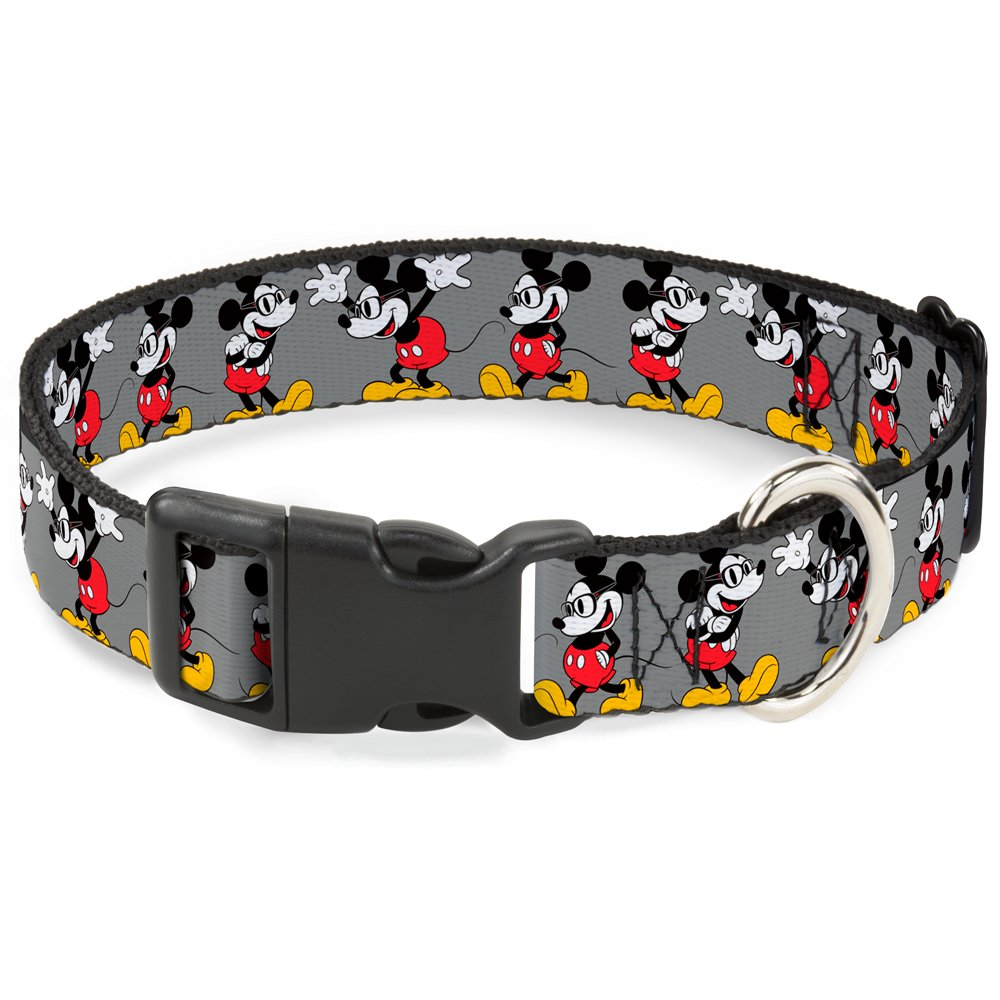Buckle-Down Breakaway Cat Collar - Mickey Mouse w/Glasses Poses Gray - 1/2'' Wide - Fits 6-9'' Neck - Small