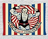 Icon Tapestry Fun Circus Decor by Ambesonne, Nostalgic the Strong Man with Tattoos and Muscles Circus Star Art Print, Bedroom Living Room Dorm Art Wall Hanging, 80 X 60 Inches, Beige Red Blue