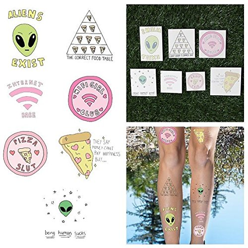 Tattify Colorful Alien And Pizza Temporary Tattoos - Take me to Your Pizza (Complete Set of 14 Tattoos - 2 of each Style) - Individual Styles Available - Fashionable Temporary Tattoos