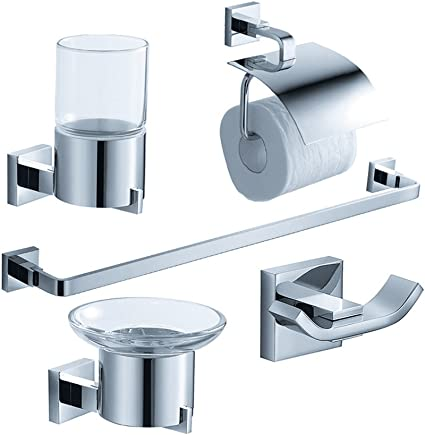 Amazon Com Fresca Bath Fac1100 Glorioso 5 Piece Bathroom Accessory Set Chrome Home Improvement