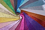 "WENTO Assorted Colors 25pcs 8"" x 12"" (20cm x 30cm) Sparkly Superfine Glitter Fabric,glitter fabric sheets For Patchwork Sewing DIY Craft Glitter Fabric Convas on reverse"