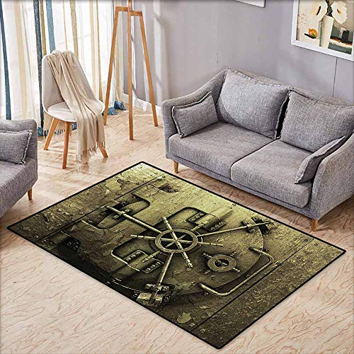 Living Room Area Rug,Rustic Decor Collection,Grunge Style Bank Vault Illustration Safe Secure Precious Treasure Protection Image Pritn,Anti-Slip Doormat Footpad Machine Washable,3'3