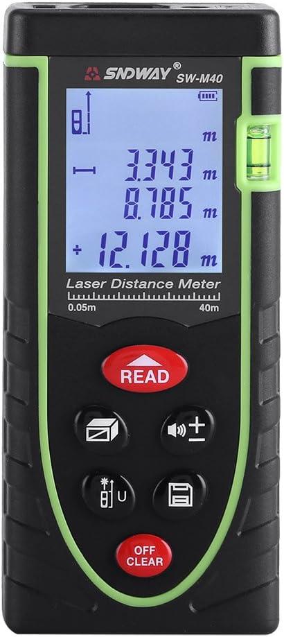 Digital Medidor Distancia Telémetro Handheld Range Finder 1mm hasta 40/60/80/100m con gran LCD Pantalla de retroiluminación y burbuja para interior y exterior