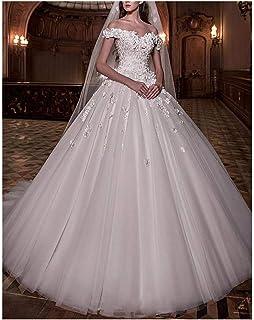 Amazon.com: VinBridal - Vestido de novia con hombros ...