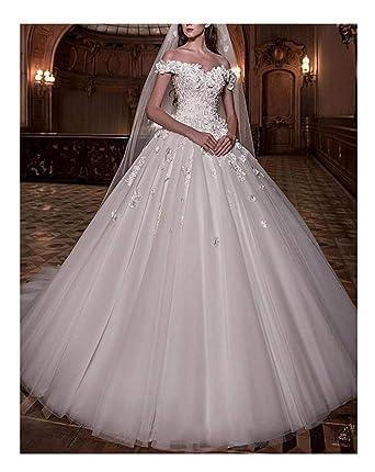 2880f5c4e08 Women s Fantastic Tulle V-Neck Wedding Dresses Ball Gown Beaded Wedding  Dresses for Bride 2019