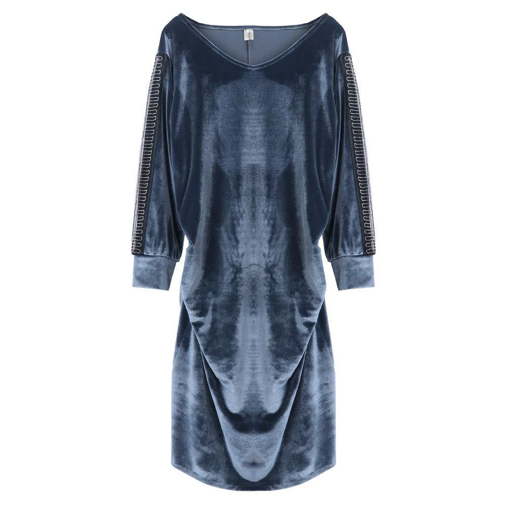 Dress for Women Girl Vintage Velvet Quilted V Neck Long Sleeve Button Slim Dresses (Silvery,L)