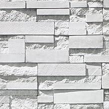 "Modern Faux Brick Stone Textured Wallpaper Roll 3D Gray Rock Brick Blocks Home Room Decoration 20.86"" x 393"""