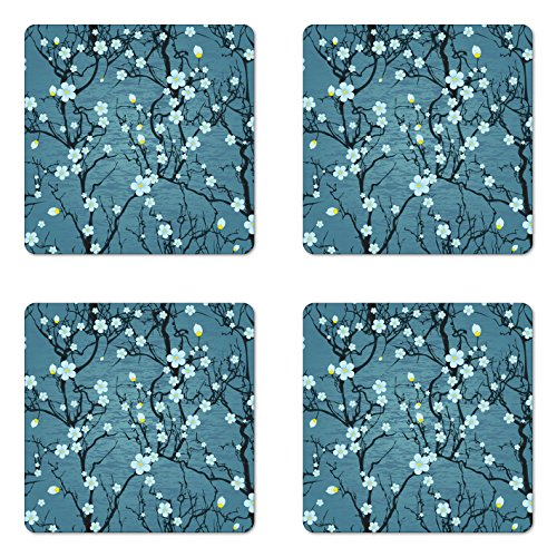 (Lunarable Floral Coaster Set of Four, Sakura Tree Branches Japanese Cherry Blossom Style Spring Kitsch Graphic Artwork, Square Hardboard Gloss Coasters for Drinks, Slate Blue)