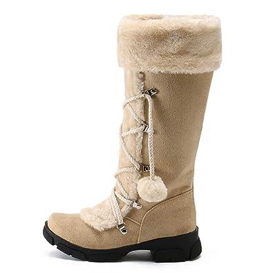 Darringls Zapatos de Invierno Mujer,Zapatillas Botines de Nieve cálido Piel Botines Punta Redonda con Cordones Zapato Altas de Tubo: Amazon.es: Zapatos y ...