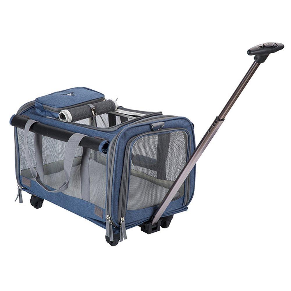 bluee AYCC Pet Dog Cat Trolley Case, Car Hiking Camping Wheeled Bag, Washable, Foldable,bluee