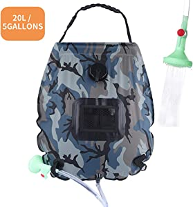 PGYFIS Solar Shower Bag Camping Shower 5 gallons/20L Solar Heating Bag with Removable Hose and On-Off Switchable Shower Head for Outdoor Traveling Hiking