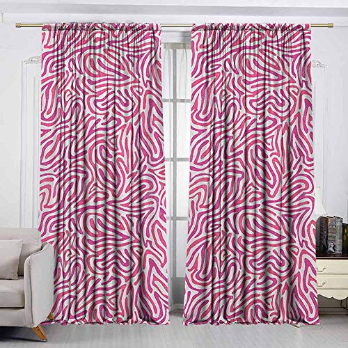 VIVIDX Thermal Insulated Blackout Curtains,Pink Zebra,Curved Wild Wavy Line Stripe Formless Funky Groovy Boho Tribal Culture,Waterproof Patio Door Panel,W72x45L Inches Fuchsia Pink - Palm Pre Zebra Pink