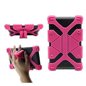 """CHINFAI Universal 7 inch Tablet Case Shockproof Silicone Stand Cover for All Versions RCA Voyager 7"""" (2016, 2017) / Samsung Galaxy Tab 3/4/A/E Lite 7"""" / Google Nexus MatrixPad Z1 7"""" and More, Rose"""