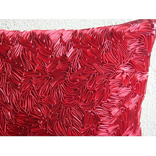 Red Throw Pillows Cover Couch, Ribbon Art Work Textured Pillow Covers, 14