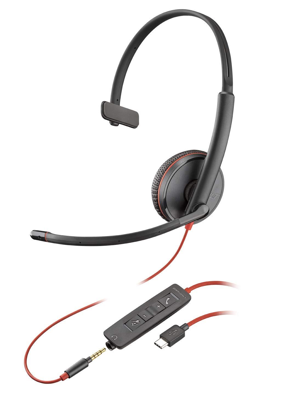 Casque Mono Filaire Plantronics Blackwire 3200 Sté ré o USB Noir 209745-101