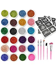 Glitter Tattoos Kit, 24 Colors Glitter Temporary Tattoos/Body Glitter Tattoos,120 Fashion Stencil, Ideal Gift for Girls/Kids/Teenager/Adult, Best Cosmetic Tattoos Set for Parties/Events