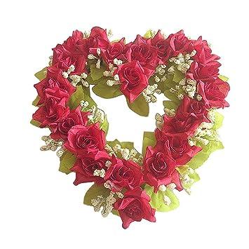 Fenghong Fleurs Artificielles Guirlande De Soie En Forme De Coeur