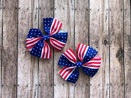USA flag patriotic hair bow set by Inspired Bows