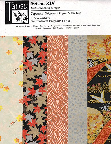 Japanese Chiyogami Papers - Geisha XIV - Maples Leaves Crisp as Paper