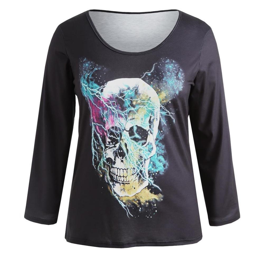 6a290b5df Hatoys Women's Ladies Fashion Skull Print Tops, Plus Size Leisure Long  Sleeve T-Shirt Shirts Blouse at Amazon Women's Clothing store: