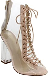 e46c8d63f5 Liliana Clear Translucent Transparent Lace Up Peep Toe Ankle Bootie W  Perspex Block Heel