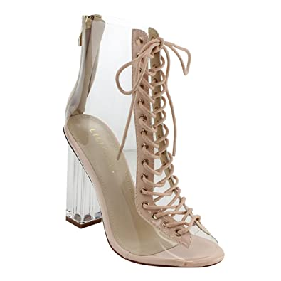 b4f36152ede Liliana Clear Translucent Transparent Lace Up Peep Toe Ankle Bootie W  Perspex Block Heel