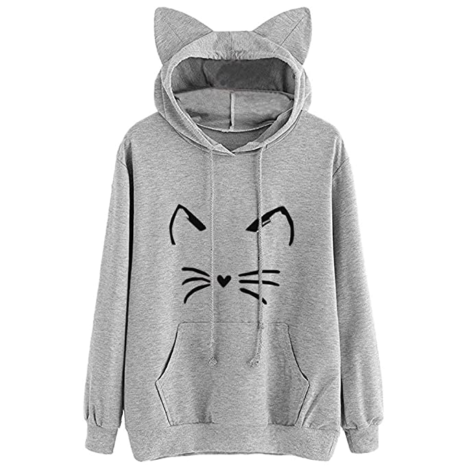 Amazon.com: Yujong New Produce Womens Cat Ear Solid Long Sleeve Hoodie Cute Sweatshirt Hooded Pullover Tops Blouse: Clothing