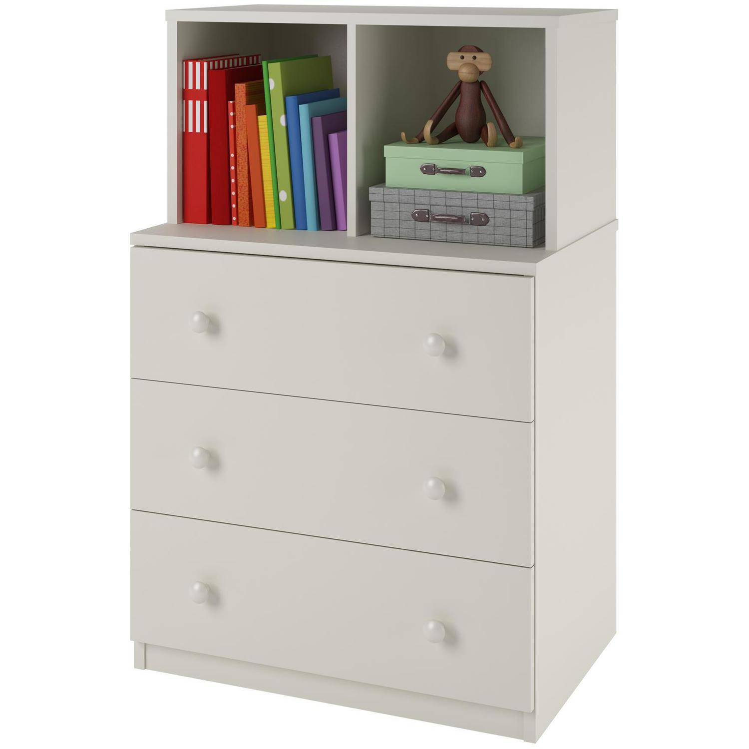 3-Drawer Dresser 2-Cubbies White Wooden Clothes Toys Books Decor Display Storage Cabinet Organizer Furniture-Home Office Dorm Apartment Bedroom Dimensions: 23.68 x 15.68 x 36.68 Inches