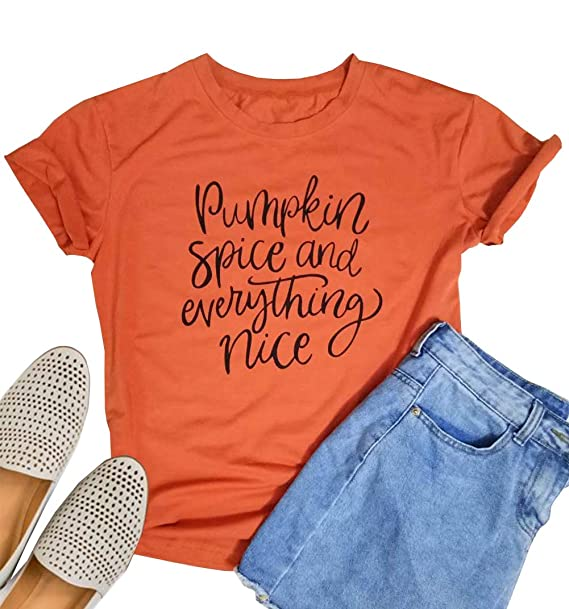 94233897 Amazon.com: ALLTB Pumpkin Spice Everything Nice Tshirts Womens Funny  Thanksgiving Letters Print Casual Fall Tees Tops: Clothing