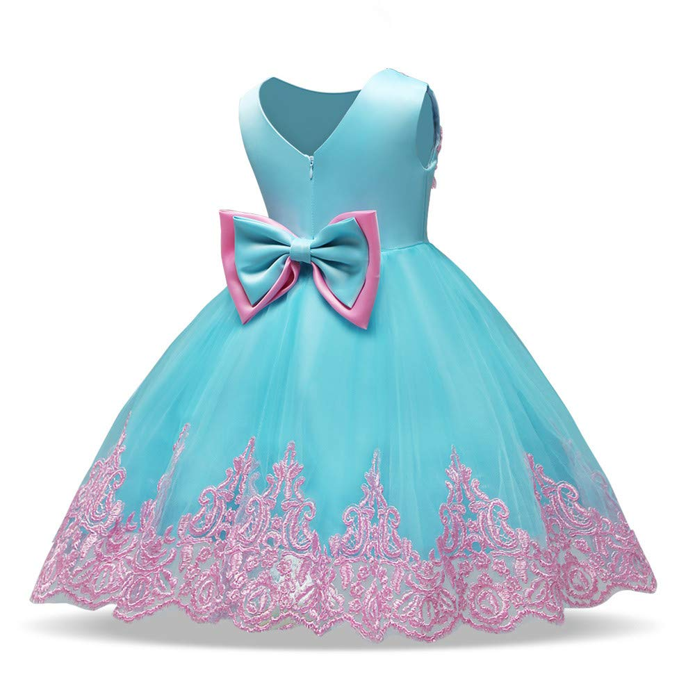 Muium Toddler Baby Lace Bowknot Princess Dress Newborn Girls Formal Tutu Sleeveless Skirts Wedding Party Clothes for 0-4 Years Old