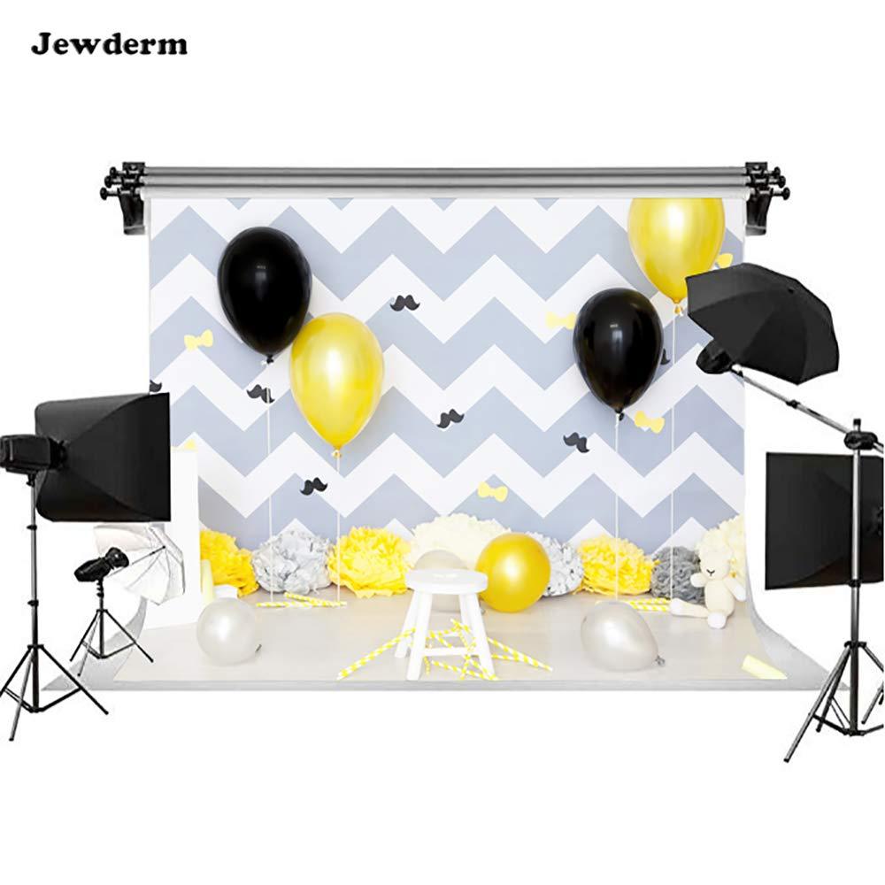 Jewderm 9x6フィート ハッピー1歳の誕生日写真背景 ブラックイエローバルーン ストライプ 花の装飾 写真背景 ベビー新生児シャワーパーティー小道具   B07M9BRDQF