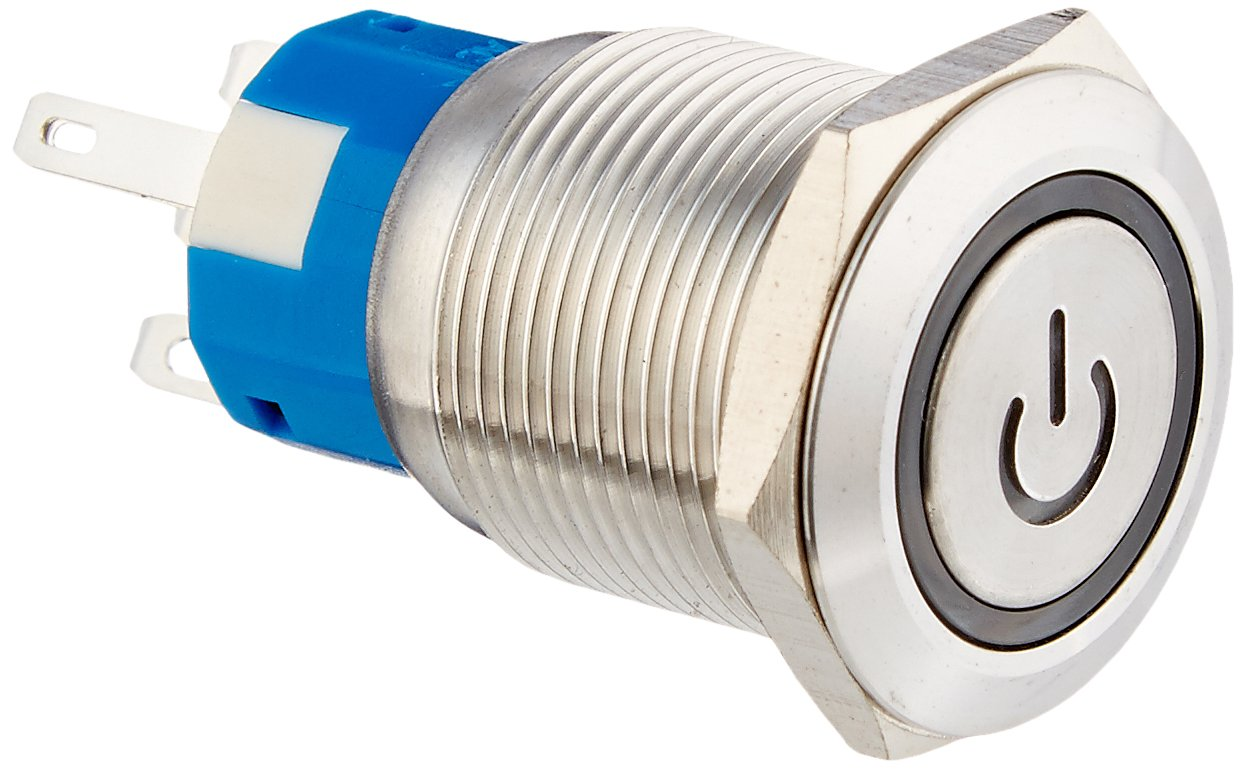 Uxcell DC 12V LED SPDT Momentary Stainless Steel Push Button Switch