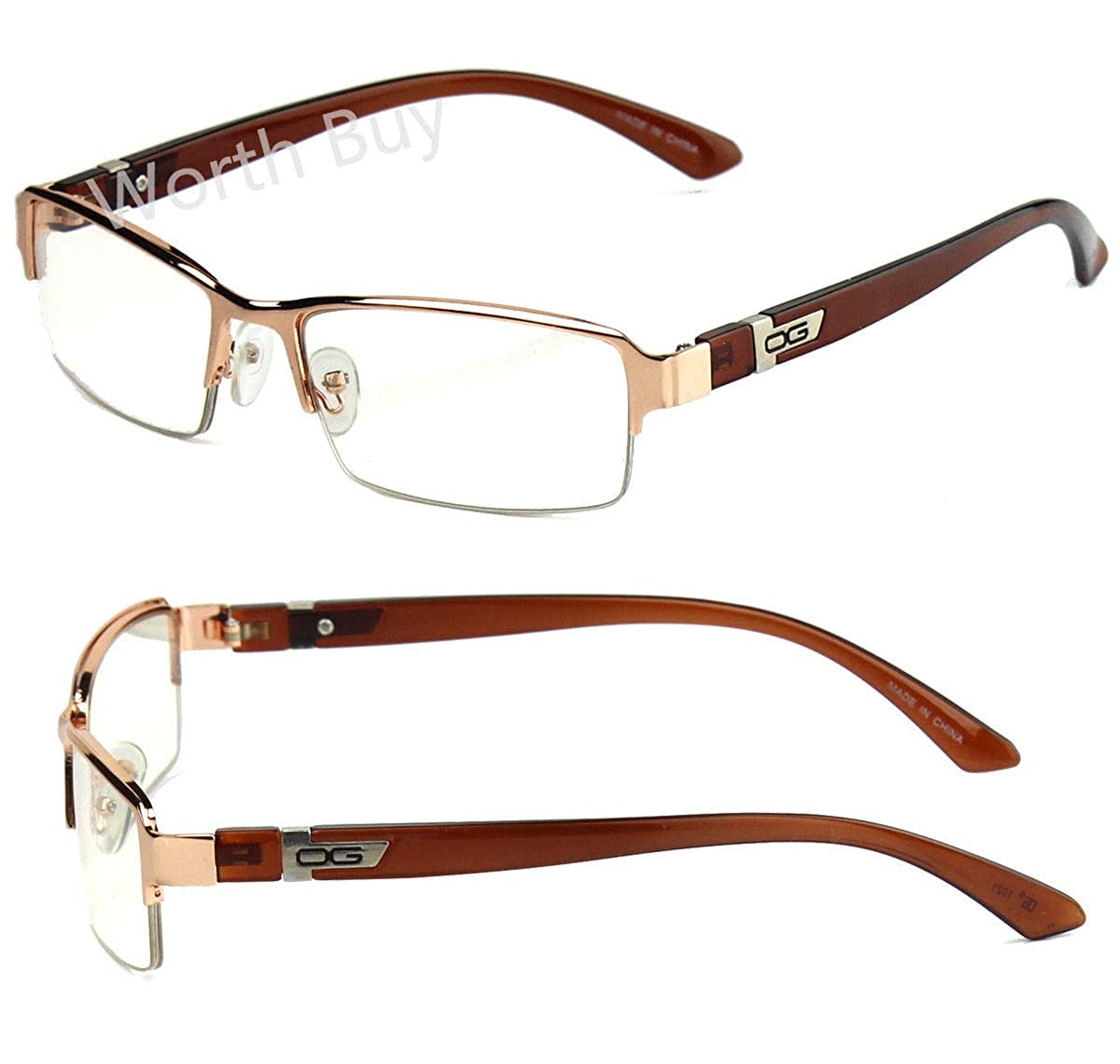 3d7eddbe1363 Amazon.com: Mens Womens DG Clear Lens Frame Glasses Designer Fashion  Optical RX Half Rim: Clothing