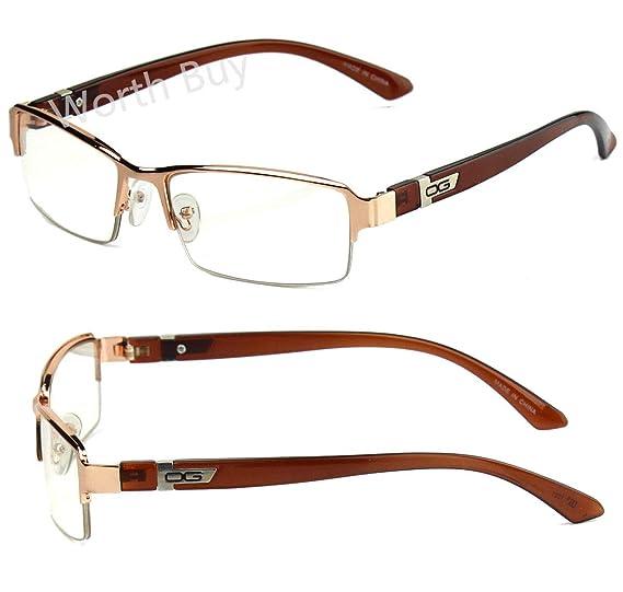 7f9d9a54ef Amazon.com  Mens Womens DG Clear Lens Frame Glasses Designer Fashion  Optical RX Half Rim  Clothing