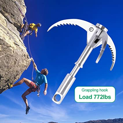 Grappling Hook Foldable Climbing Claws 350KG Load Survival Carabiner Tool
