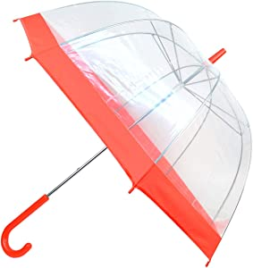 Clear Red Bubble Umbrella with Windproof Dome - Transparent Umbrella for Adults