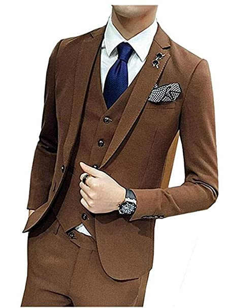 Amazon.com: Chaleco Blazer para hombre de moda, color marrón ...
