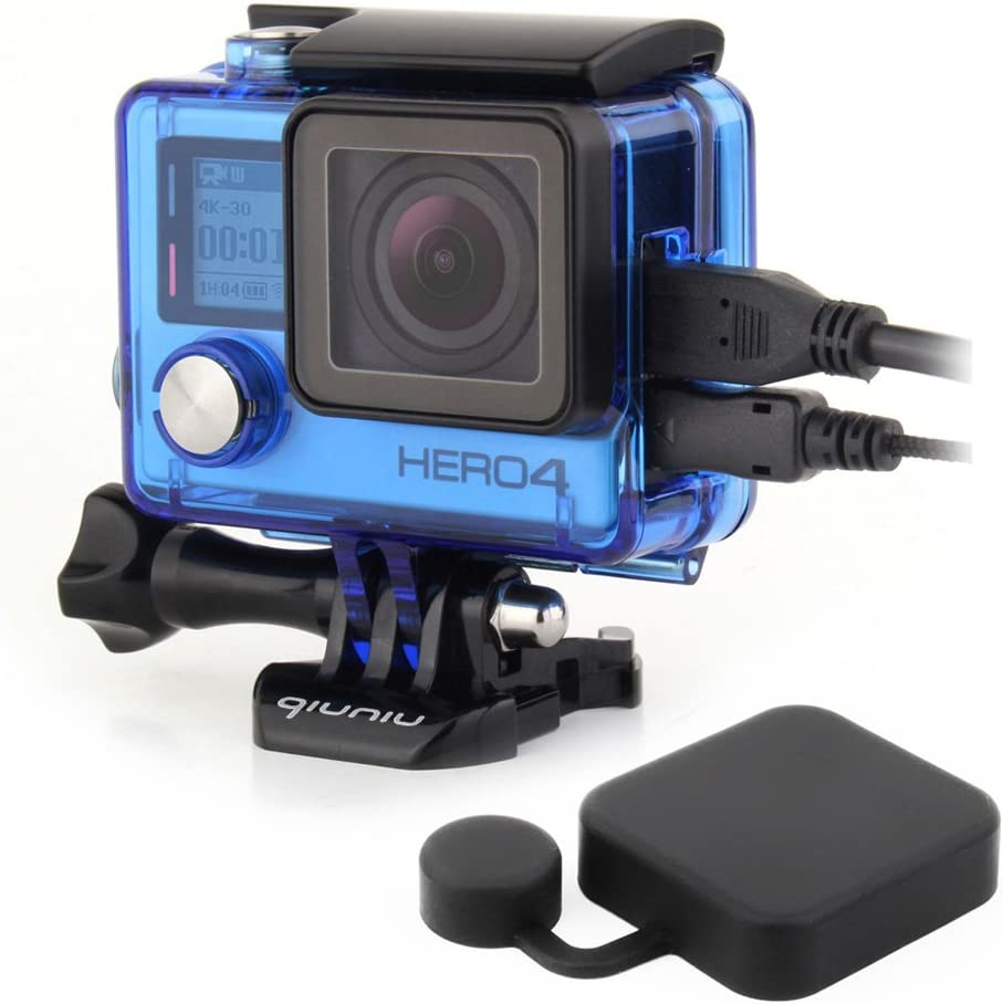 Side Open Protective Skeleton Housing Case with LCD Touch Backdoor for GoPro Hero 4, GoPro Hero 3, and GoPro Hero 3+ - Transparent Blue